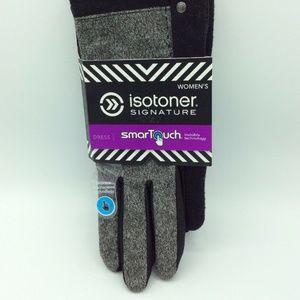 Isotoner Signature Suede Black Chevron Gloves